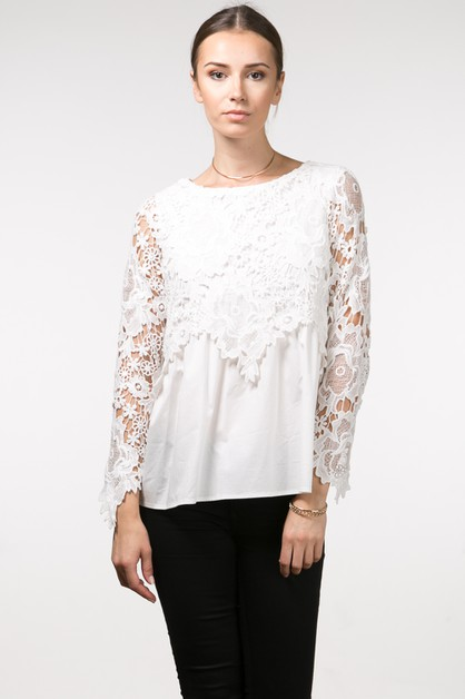 Sheer Lace Sleeve Peplum Blouse - orangeshine.com