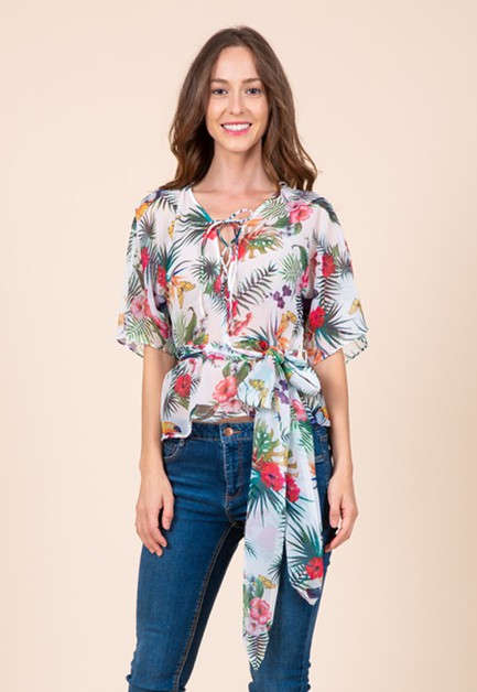 Lace Up Tropical Tie Waist Blouse  - orangeshine.com
