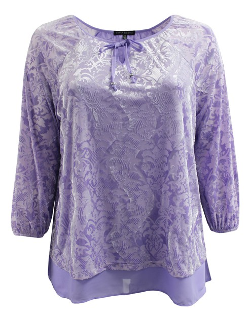 Purple Velvet Blouse Plus Size - orangeshine.com