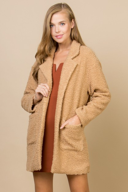 COZY FAUX SHERPA COAT WITH POCKETS - orangeshine.com