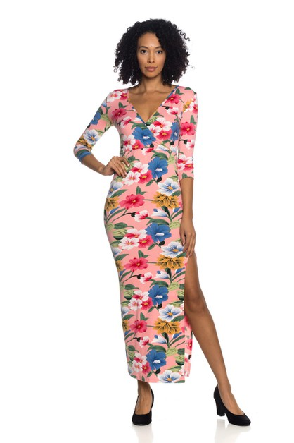 Floral Maxi Wrap Dress - orangeshine.com