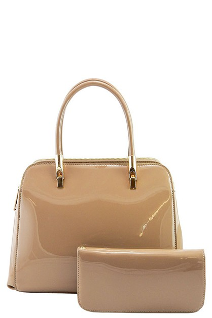 DESIGNER 2 IN 1 PATENT HANDBAG SET - orangeshine.com