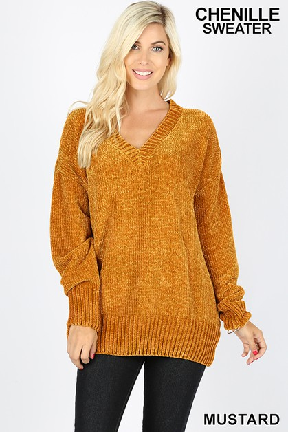 ROUND NECK VELVET YARN SWEATER  - orangeshine.com