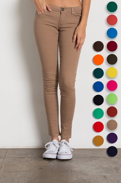 Solid Low Rise Skinny Pants - orangeshine.com