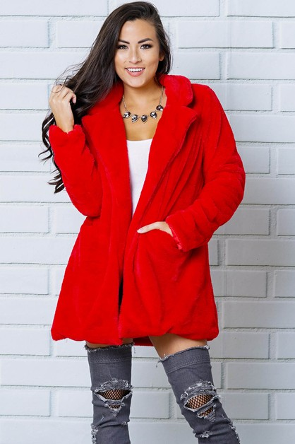 COLLAR NECK FAUX FUR COAT - orangeshine.com
