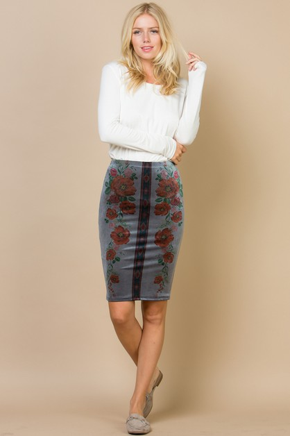 Floral sublimation velvet skirt - orangeshine.com