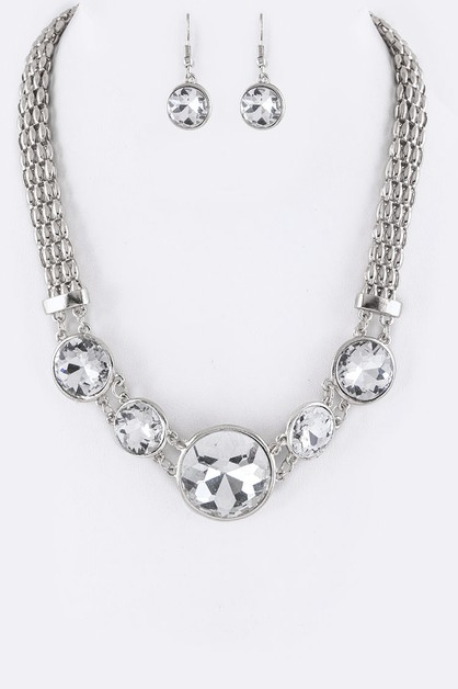 Round Crystals Statement Necklace  - orangeshine.com