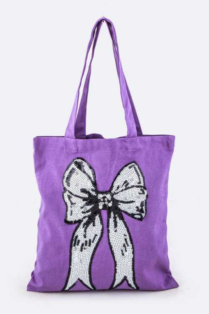 Large Beaded Sequins Bow Canvas Tote - orangeshine.com