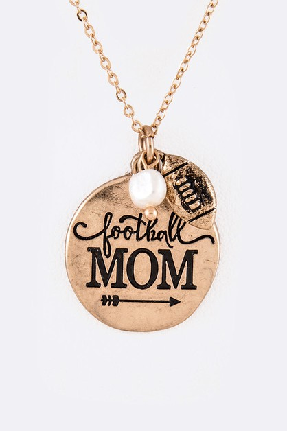 Football Mom Pendant Necklace Set - orangeshine.com