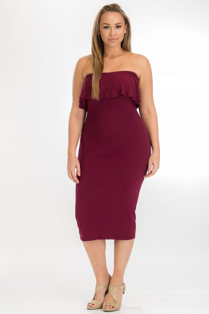 Plus Size Ruffle Tube Dress - orangeshine.com
