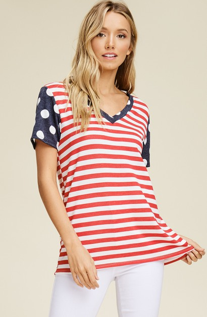 Striped and Polka Dot V-Neck Top - orangeshine.com