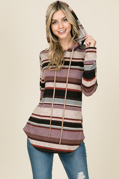 RELAXED LONG SLEEVE STRIPED HOODIE - orangeshine.com