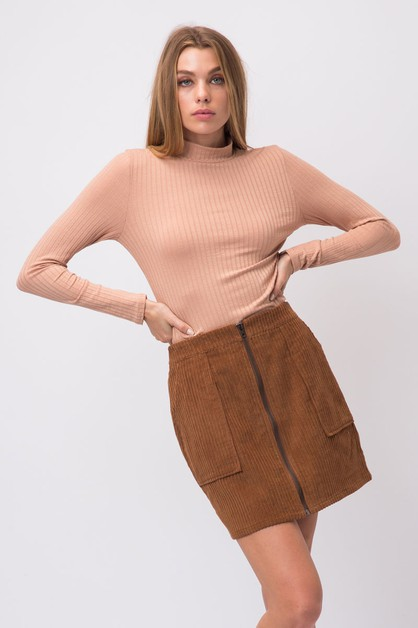 CORDUROY ZIP UP MINI SKIRT - orangeshine.com