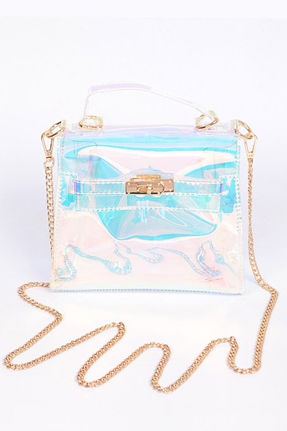 Turn Lock Structured Clear Mini Bag - orangeshine.com