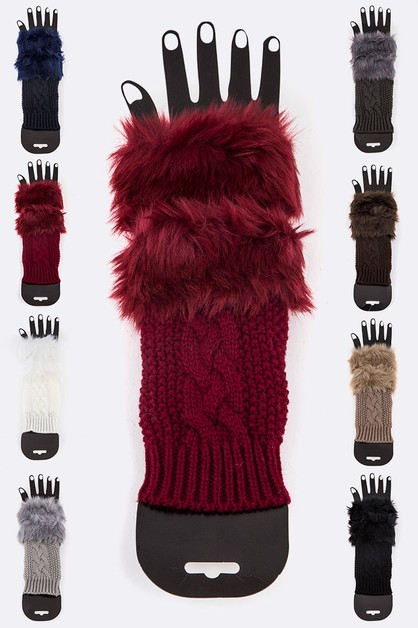 Faux Fur Trim Fingerless Gloves - orangeshine.com