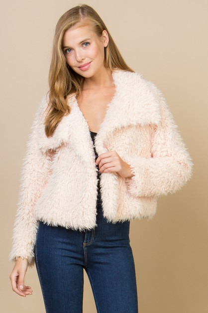 FUZZY FAUX FUR COAT - orangeshine.com