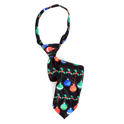 Boys Christmas Ball Black Zipper Tie - orangeshine.com