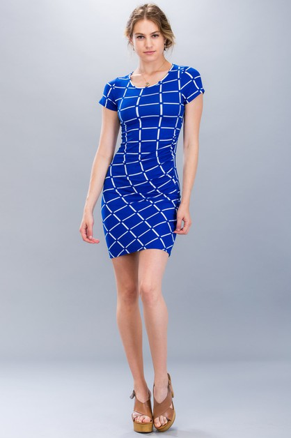 Grid Shirring Dress - orangeshine.com