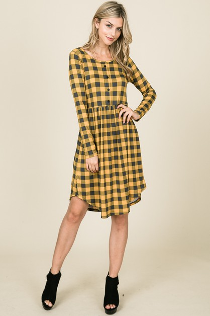 CHECKER BUTTON DETAIL MIDI DRESS - orangeshine.com