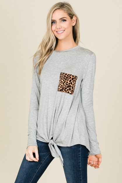 LEOPARD CHEST POCKET FRONT TIE TOP - orangeshine.com