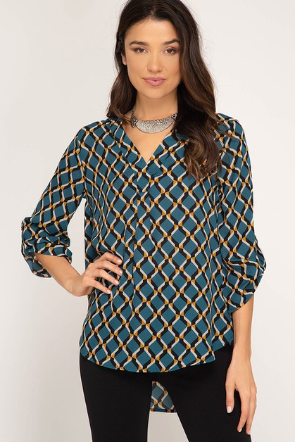 ROLL UP SLEEVE GEO PRINT TOP - orangeshine.com