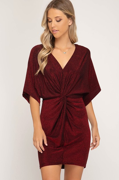 BATWING SLEEVE METALLIC KNIT DRESS - orangeshine.com