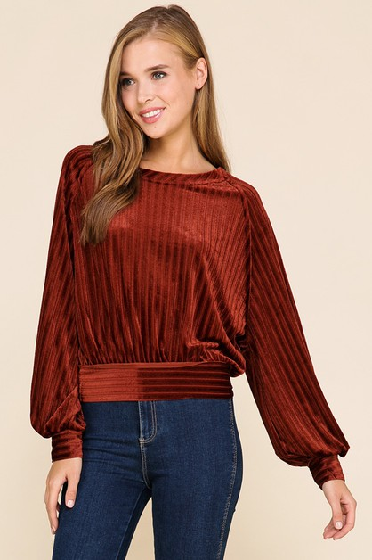 NOVELTY VELVET DOLMAN TOP - orangeshine.com