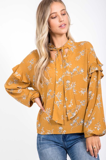 AUTUMN RUFFLED BISHIOP TIE BLOUSE - orangeshine.com