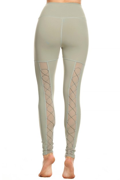 Back lace up legging in Frost Green - orangeshine.com