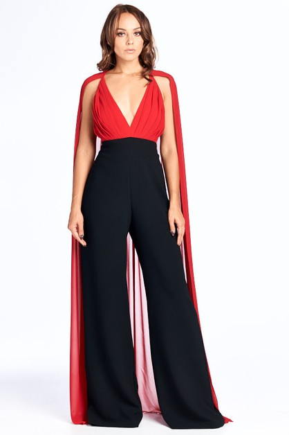 V-Neck Jumpsuit with long Chiffon Tu - orangeshine.com