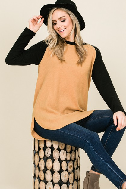 LOOSE FIT LONG SLEEVE RAGLAN TOP - orangeshine.com