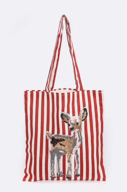 Sequins Fawn Patch Tote - orangeshine.com