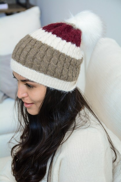 Ultra Soft Mohair Wide Stripe Beanie - orangeshine.com