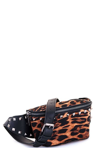 Fashion Leopard Studded Waist Bag - orangeshine.com