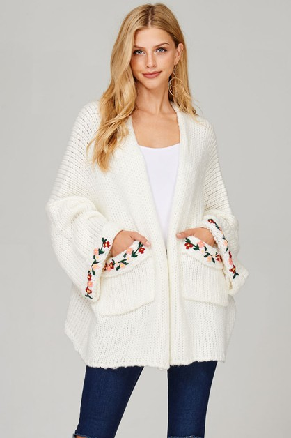 CHUNKY KNIT CARDIGAN WITH EMBROIDERY - orangeshine.com