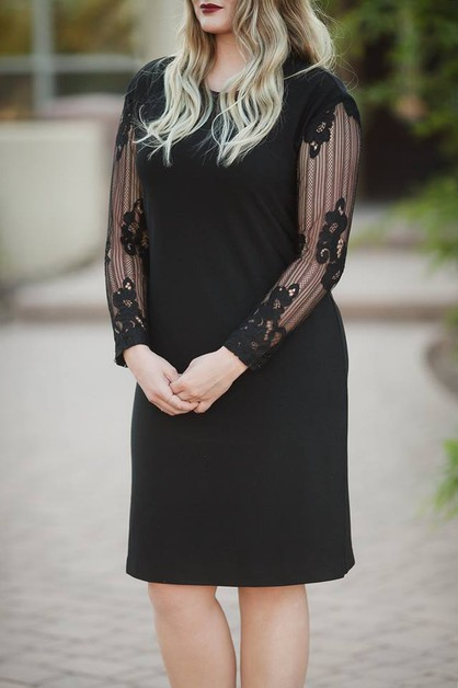 Tiffany Dress - Black Lace Sleeve - orangeshine.com