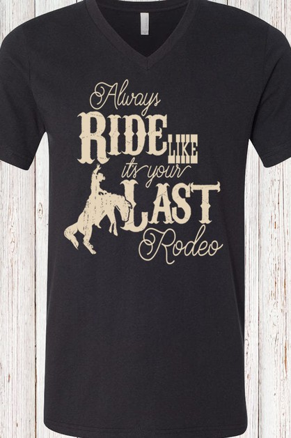 Last Rodeo V Neck Tee - orangeshine.com