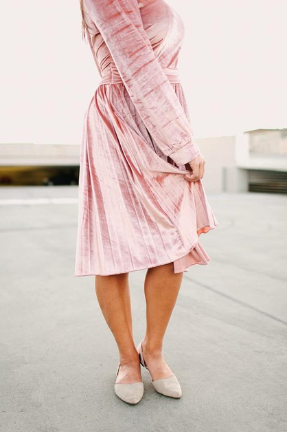Cheyenne Dress - Pink Velvet Plus - orangeshine.com