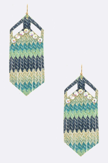 Crystal Pave Faux Leather Earring - orangeshine.com