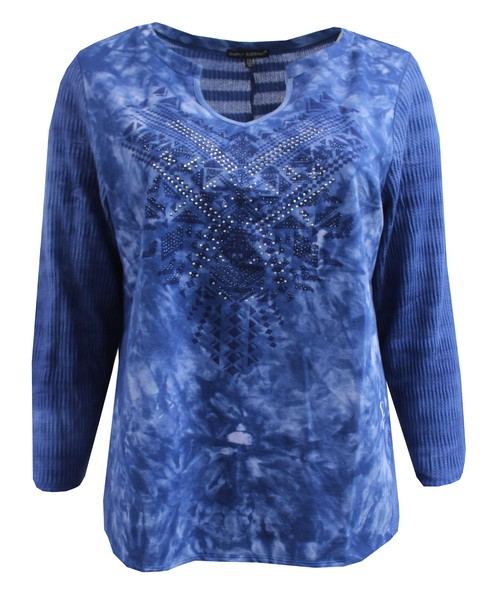 Dark Blue Tie-Dye Knit Plus Size - orangeshine.com