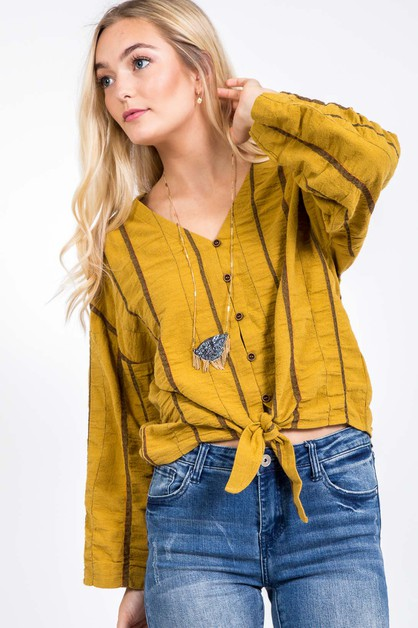 FALL STRIPPED FRONT TIE KIMONO TOP - orangeshine.com