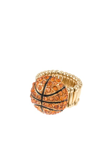 BASKETBALL GEM PAVE STRETCH RING  - orangeshine.com