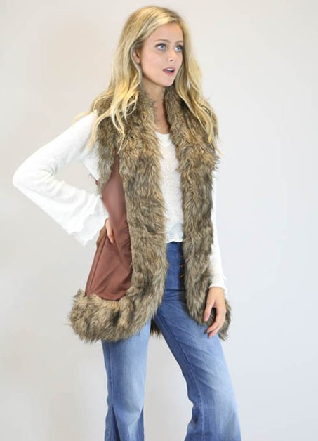 CHOCOLATE FAUX SUEDE VEST - orangeshine.com