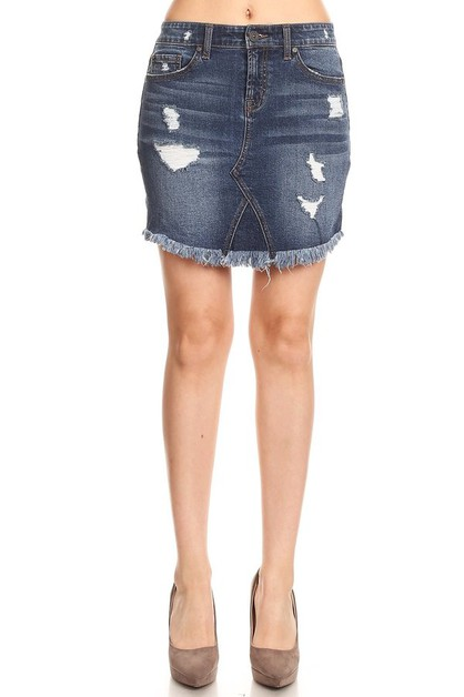 Frayed Distressed Denim Skirts  - orangeshine.com