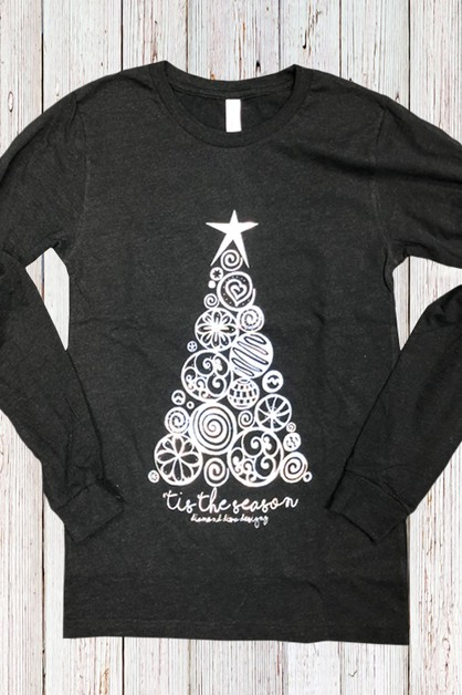 Tis The Season Silver Foil LS Tee - orangeshine.com