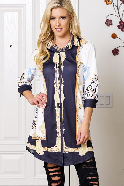 BAROQUE BUTTON UP  TUNIC TOP - orangeshine.com