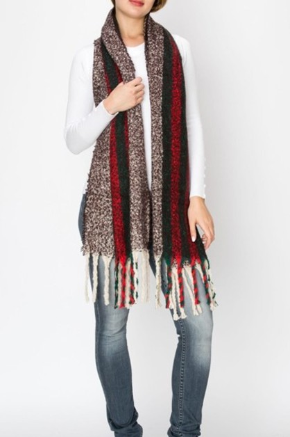 Multi Color Striped Scarf with Fring - orangeshine.com