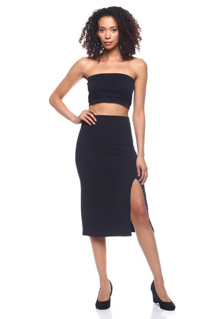Stretch Knit Pencil Skirt - orangeshine.com