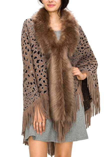 Soft Fur Collar Animal Print Poncho - orangeshine.com