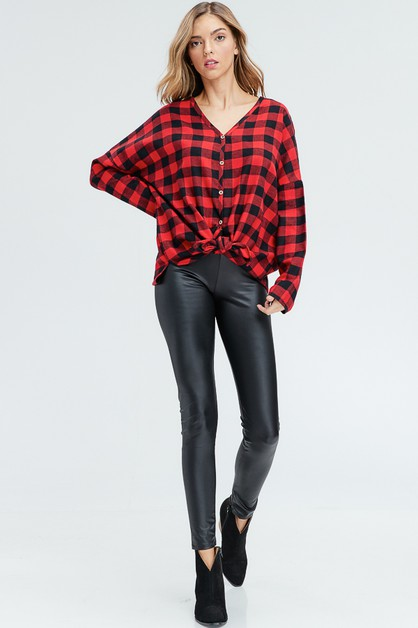 Plaid Button Down Knit Top  - orangeshine.com